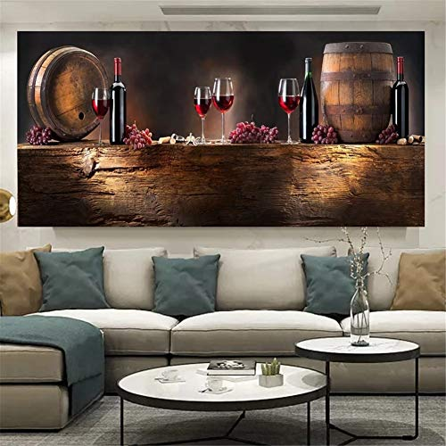 Pintura Diamante 5D Completo Adultos Barril de copa de vino tinto DIY Diamond Painting taladro completo diamante bordado Punto de Cruz Diamante Craft Kit Home Wall Decor 70x200cm