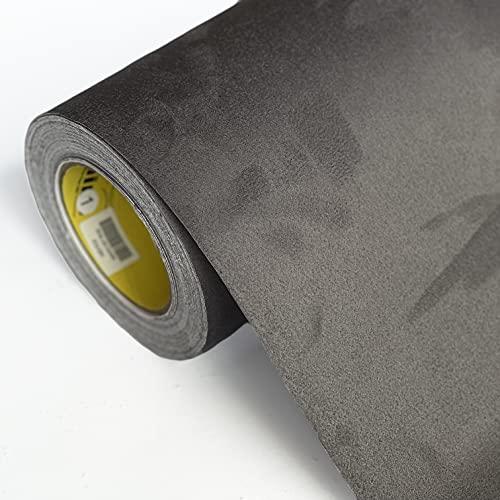folimac - Selbstklebende Folie, Wildleder Velours Stoff, Mikrofaser Autofolie für Interieur Dachhimmel, Stretch mit Luftkanäle ab 36 Euro/m² + Folienrakel (Charcoal - Dunkelgrau, 50cm x 142cm)