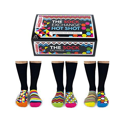 United Oddsocks - Hot Shot - Männer Socken 6er Box - geometrische Formen - Gr. 39 - 46