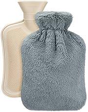 Vintoney varmvattenflaska med mjukt fleecefoder, premium naturgummi 2 liter varmvattenflaska – hjälper till att ge värme och komfort Grått