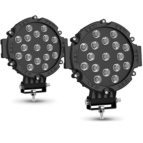 2PACK 7' LED Offroad Pod Lights Bar 51W with Mounting Bracket, Black Round Spot Bumper Driving Lamp Headlight Fog Light for Offroader, Truck, Car, ATV, SUV, Construction, Camping, Hunters