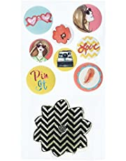Prima Marketing Bloom Flair Buttons with 2 by 2-Inch Clear Stamp, 0.75-Inch by 1-Inch