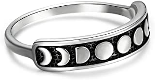 Vintage Silver Moon Phase Ring, 925 Sterling Silver Crescent Moon Phase Ring, Dainty Stacking Finger Ring Band Jewelry for Women Teens Size 6 7 8 9 10