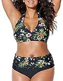 Yutdeng Bikini Tallas Grandes Traje de Baño Retro Acolchado de Cintura Alta Conjuntos de Bikinis 2 Piezas Estampado y Bordado Sexy Swimsuit Natación Playa,Verde,3XL