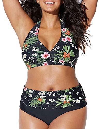 Yutdeng Bikini Tallas Grandes Traje de Baño Retro Acolchado de Cintura Alta Conjuntos de Bikinis 2 Piezas Estampado y Bordado Sexy Swimsuit Natación Playa,Verde,XXL