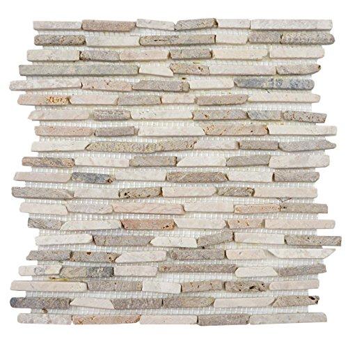 Mendler Piastrelle per Pavimento e Parete Vigo T688 Marmo Mosaico 30x30cm 11 Pezzi 1mq ~ Grigio Avorio