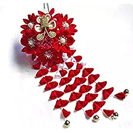 Wooden hair stick in traditional japanese style with red glass crackle beads and very big japanese fan hairpin hair ornament kanzashi