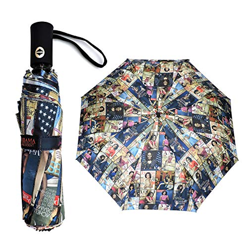 Magazine Cover Collage Michelle Obama Printed Light Weight Bubble Dome Compact Retractable Folding Umbrella With Sleeve (Auto open&Close-Multi)