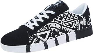 Yowablo Sneakers Herrenmode Lässige Schnürfarbe für Canvas Sportschuhe Graffiti-Schuhe