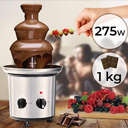 Schokoladenbrunnen 275W - 3 Etagen, 1 kg Schokolade, Größe (Ø/H): 21.5/39 cm, Edelstahl, spülmaschinengeeignet, modernes Design, Silber - Partybrunnen, Schokofondue, Schokoladenfontaine