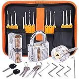 Lockpicking Set, Dietrich Set - 24 Stück Lock Pick Training Set mit 3 Transparentem Trainingsschlössern für Anfänger...