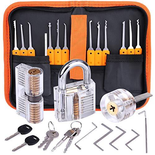 Lockpicking Set, Dietrich Set - 24 Stück Lock Pick Training Set mit 3 Transparentem Trainingsschlössern für Anfänger und Profis Schlosser
