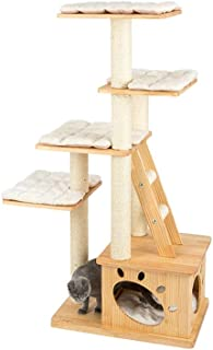 HONEYPOT CAT by CHOKYO   Solid Natural Wood   Multi Level   Cat Climbing Tower   Climbing Ladder   Large Condo Gym Toy Fur...