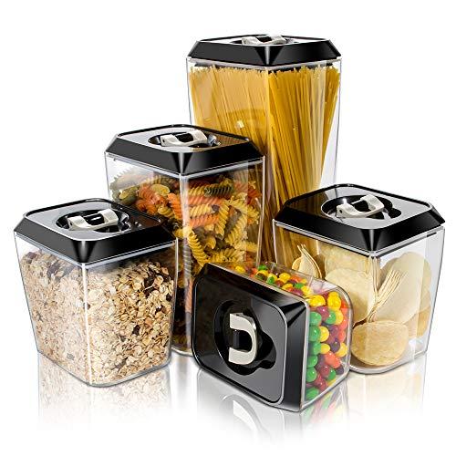 Masthome 5 Stück Vorratsdosen Luftdicht für Lebensmittel Aufbewahrungsbox Küche BPA-frei Frischhaltedosen Set aus Haltbar Versiegelter Kunststoffbehälter für Mehl Zucker Müsli Spaghetti Kaffee