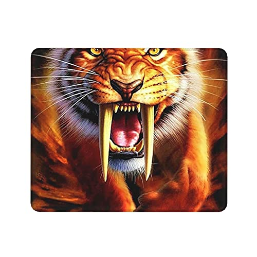 Yellow Saber-Tooth Tiger Gaming Mouse Pad Mouse Pad Rubber Base Gaming Mouse Pad Laptop Office X 10 X 12 X 0.1 Inch