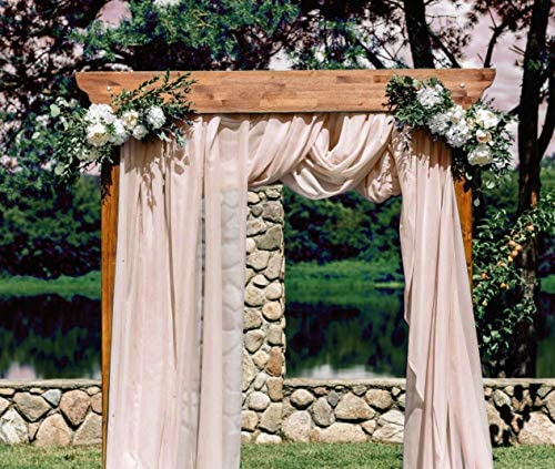 HAVII 315 x 60 inch Chiffon Fabric Table Runner Champagne Sheer Voile Scarf Drapes for Wedding product image