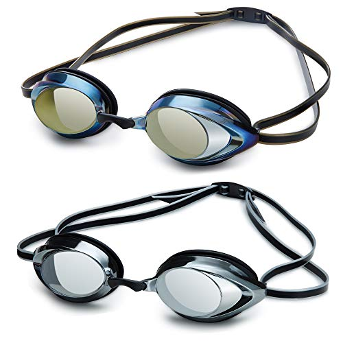 Mieny Mirrored Vanquisher 3.0 Swim Goggles,Goggles Swimming, Panoramic Swim Goggles, for Adult Men Women Youth (Black SilverBlack Gold)
