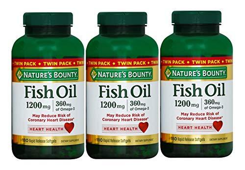 Nature's Bounty Fish Oil 1200 mg, 180-Count per Bottle (540 Total Count) Rapid Release Liquid Softgels