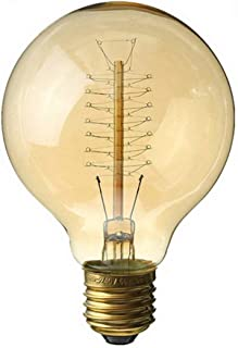 AWSW Vintage Edison Light Bulbscrew Edison Bulbs,Old Fashioned Style Globe Bulb Retro Spiral Filament Lamp,Warm Light 40w E27 110-220v - 10pack