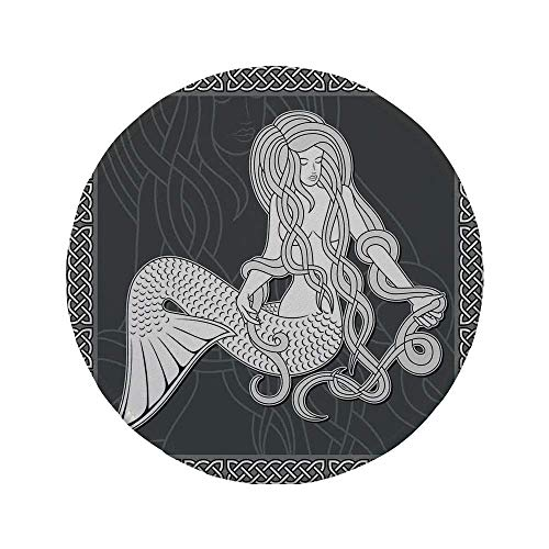Rutschfreies Gummi-rundes Mauspad Meerjungfrau Retro-Kunst-Meerjungfrau die Haare und Bordüre mit keltischem Musterdruck bürstet Braunweiß 7.9