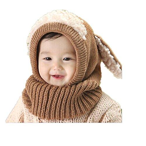 OverDosebébé Écharpe Chapeaux Enfants Hiver Filles Garçons Réchauffez laine Coif Capuche Caps (Kaki)