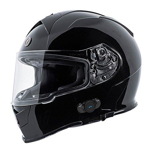 TORC T14B1 BK L T14B Bluetooth Integrated Mako Full Face Helmet (Gloss Black, Large)