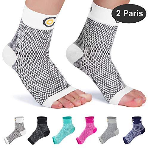 CAMBIVO 2 Paar Sprunggelenk Bandage, Knöchelbandage, Fußbandage für Herren und Damen, Kompressionsstrümpfe, Kompressionssocken für Sport, Fussball, Fitness, Volleyball (Weiß, M)