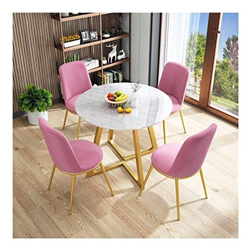 N/Z Daily Equipment 5 Piece Modern Vintage Home Table Chair Round Fabric Negotiating Combination Simple Reception Leisure Coffee Sofa Seat Office Lounge Table and Chair Set