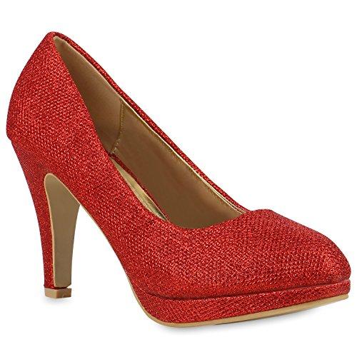 Klassische Damen Schuhe Pumps Stiletto High Heels Glitzer Party 154282 Rot Amares 39 Flandell