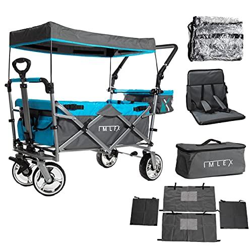 IMLEX Bollerwagen IM-4268 Azurblau mit Schiebe und Zieh Funktion incl. Zubehör: Regenschutz, Kühltsche, Sitzpolster und Vorhängen