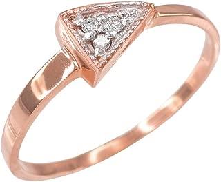 Geometric Design Triangle Diamond Ring for Women 10k Rose Gold
