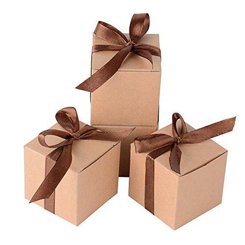 AONER 100 x Cajas de Caramelo Dulce Bombones para Bautizo Boda 5 * 5 * 5cm Regalos Recuerdos para Invitados de Fiesta (Marrón)