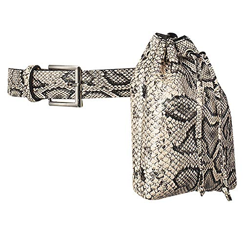 Milya Riñonera moderna para mujer, de piel sintética, con correa ajustable, diseño de serpiente, beige (Beige) - bb-04020U04