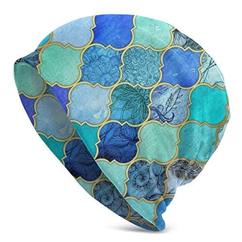 XCNGG Berretto con Motivo a mattonelle marocchine Decorative Blu Cobalto e Oro Berretto in Maglia Berretto per Tutte Le Stagioni Cappelli Cappellino con Risvolto Semplice per Unisex