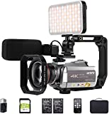 Videocámara 4K ORDRO Video Camera 4k 30fps Vlog Camera 1080p 60fps IR Night Vision Videocámara WiFi con Micrófono, Luz LED, Lente Gran Angular