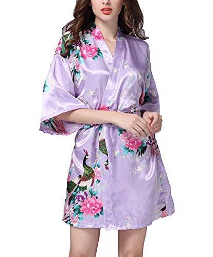 Hammia Mujer Vestido Kimono Corto Pijama Bata Satén Estampado Flores Ropa de Dormir 3/4 Manga con Cinturón Elegante Pijama (Light Purple, M(UK 8-10,EU 38-40))