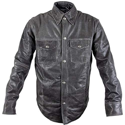 Mens Distress Dark Gray Vintage Style Leather Shirt with Buffalo Buttons