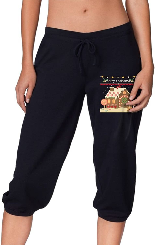 Women Drawstring Capri Pants Cropped Christmas House Sport Sweatpants