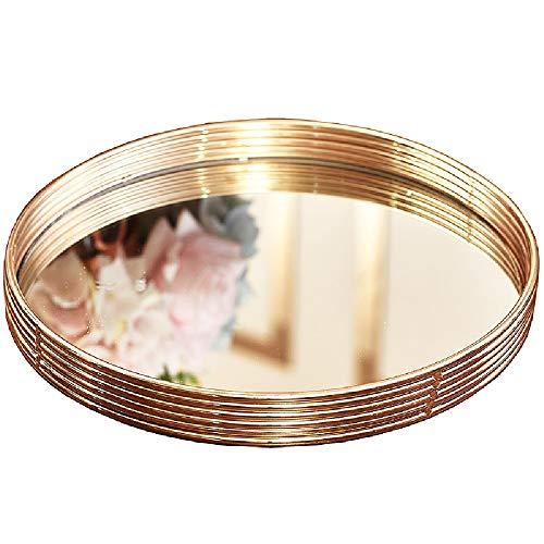 NgMik Bandeja Moderna Bandeja de Oro Bandeja Metal Bandeja Acabado de Oro para vanidad, cómoda, baño, Dormitorio Decoración de la Bandeja otomana (Color : Gold, Size : One Size)