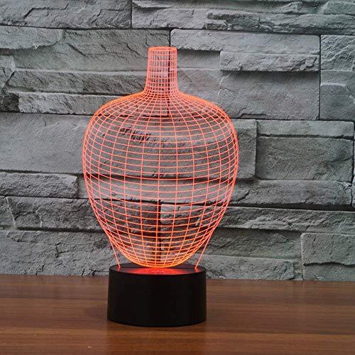 3D visual acryl gradiënt gekleurde vaas Night Light nachtkastje flesvorm creatieve tafellamp decoratie voor binnenshuis geschenken voor kinderen
