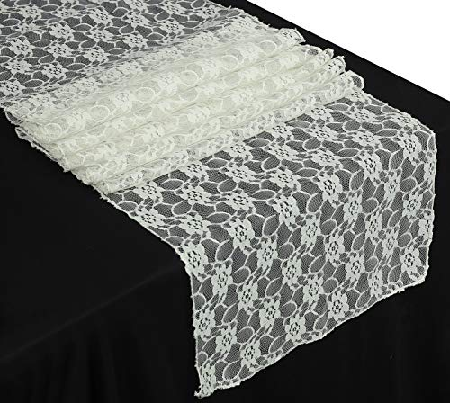 mds Pack of 10 Wedding 12 x 108 inch Lace Table Runner for Wedding Banquet Decor Table Lace Runner- Ivory