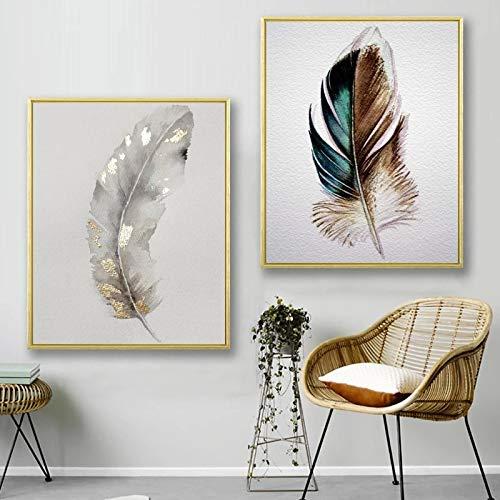 Silver Feather Art Leinwand PosterWandkunstGemälde Wandbild für Wohnzimmer Dekor PosterPrint Modern Home Decoration-50x70cmx2 Rahmenlos