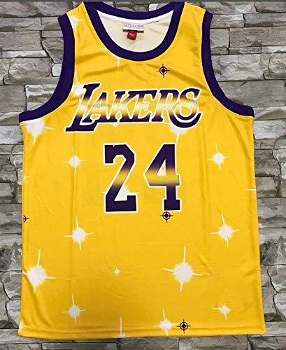 ZSPSHOP NBA Bulls Jersey Starry versión del uniforme de baloncesto No.23 Jordan No.23 James No.24 Kobe Jersey camiseta (color amarillo 24, tamaño: XXL)