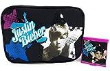 Justin Bieber cosmetico ASTUCCIO nero con zip e specchio ragazze/Ragazzi regalo astuccio