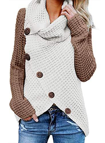 FIYOTE Damen Winterjacke Warm Strickjacke Rollkragen Cardigan Strickpullover Casual Wrap Wickel Pullover Sweater 7 Farbe S/M/L/XL/XXL, 2-brown, L