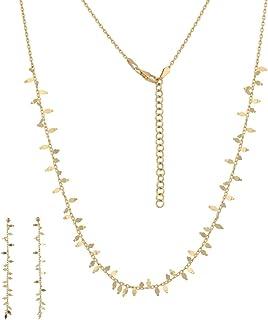 """Gioiello Italiano - Parure""""Lische"""" in oro 14kt, due colori, orecchini e collana, per donna"""