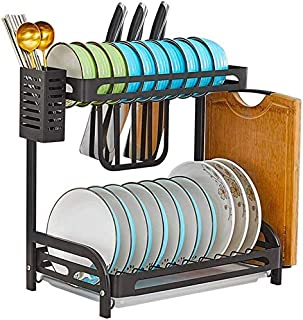 Soportes para platos- Cocina escurridor plato el plato estante de secado Aparador Cubiertos Rack acero inoxidable de ...