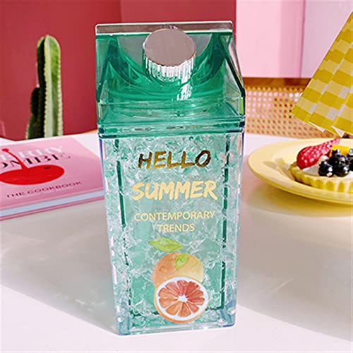 Botellas de Agua de plástico Botella de Fruta con Paja Copa de Hielo fría de la Capa fría Caja de Leche Cuadrada Creativa Chenhuanbakeyji (Capacity : 401 500ml, Color : Green Orange)