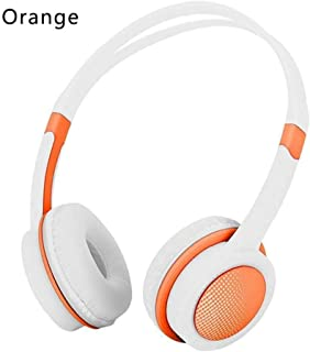 Prom-note 3.5mm Earphones Headphones for Kids Safety Adjustable Music Headset Stereo Earphones with Mic for PC Mobile Phone Accessories (Color : Orange)