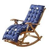 XCTLZG Alfombrilla de madera para silla de jardín, cojín largo con cuerda de corbata, cojín suave y cómodo, alfombrilla reclinable lavable para interiores